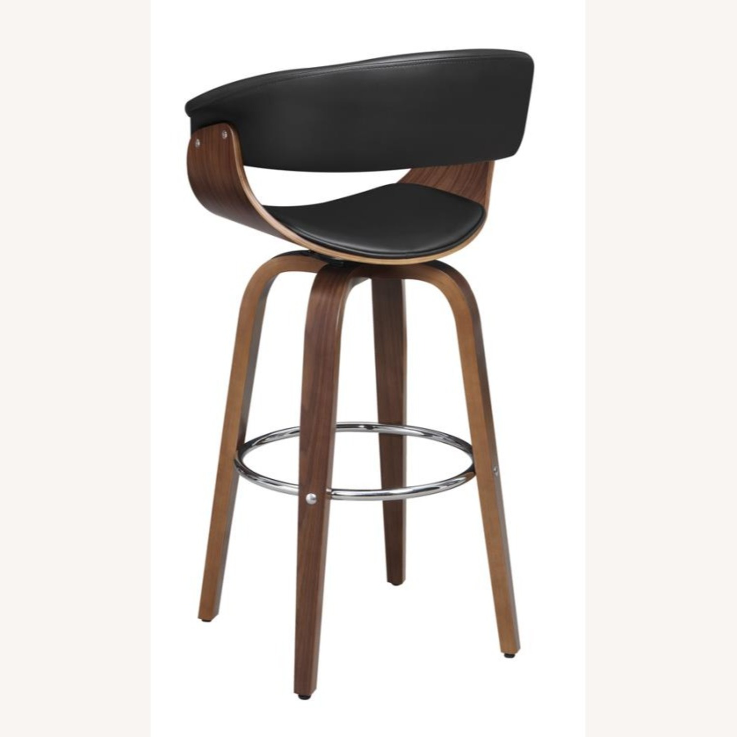 Swivel Bar Stool In Black Faux Leather Upholstery - image-4