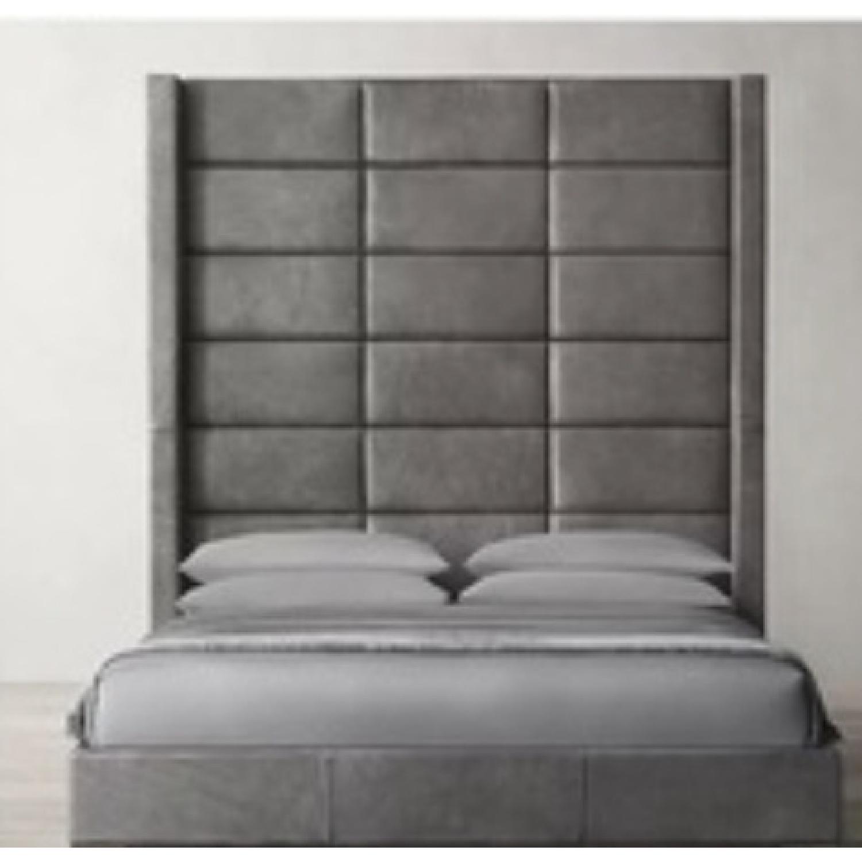 Restoration Hardware Leather Headboard Platform Bed - image-0