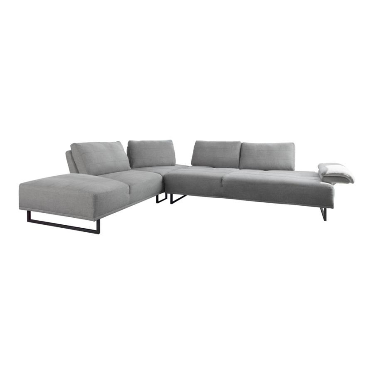 Sectional In Taupe Woven Fabric Upholstery - image-0