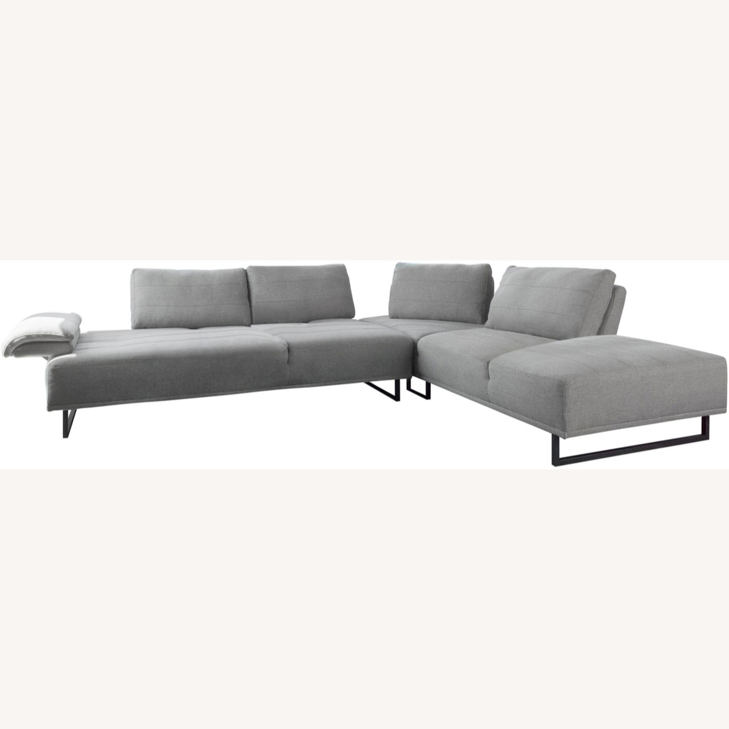 Sectional In Taupe Woven Fabric Upholstery - image-1