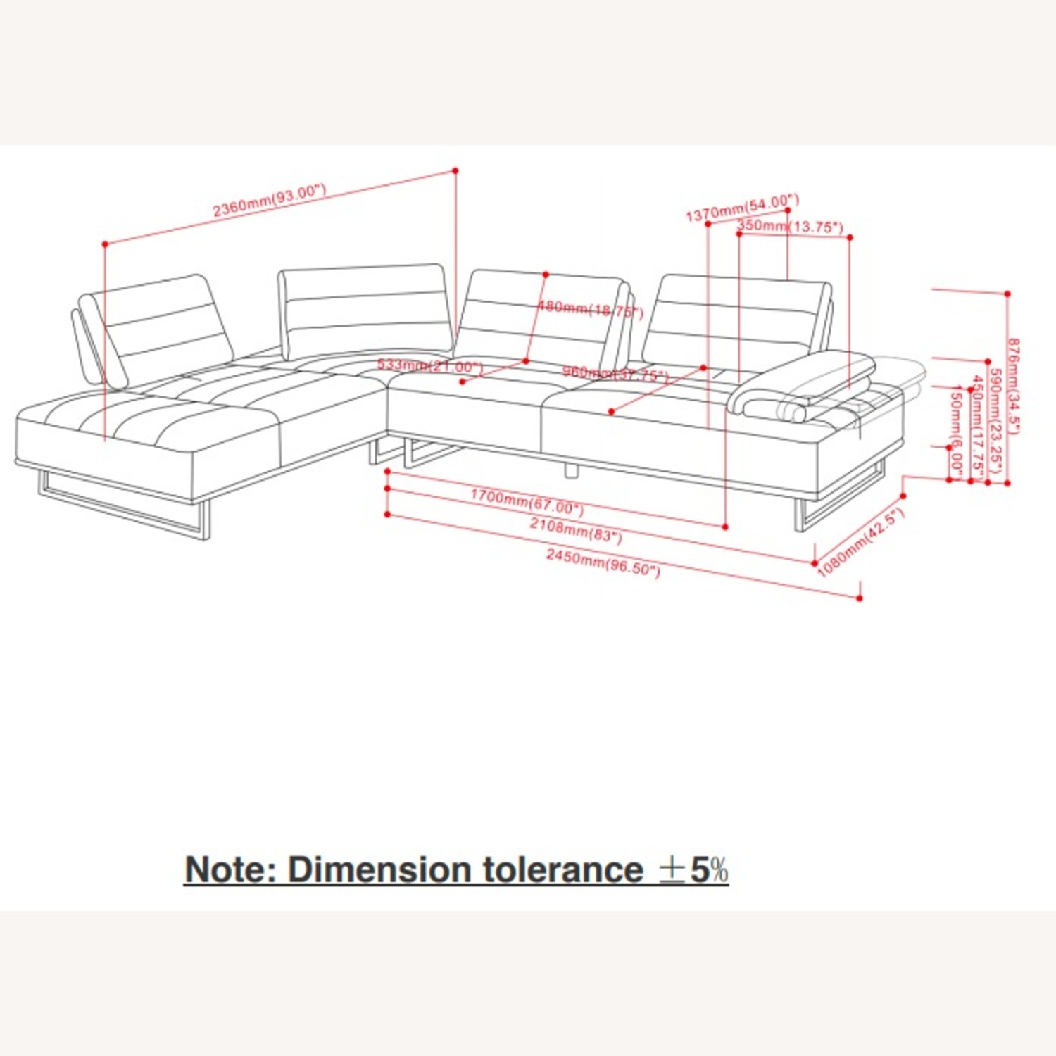 Sectional In Taupe Woven Fabric Upholstery - image-3