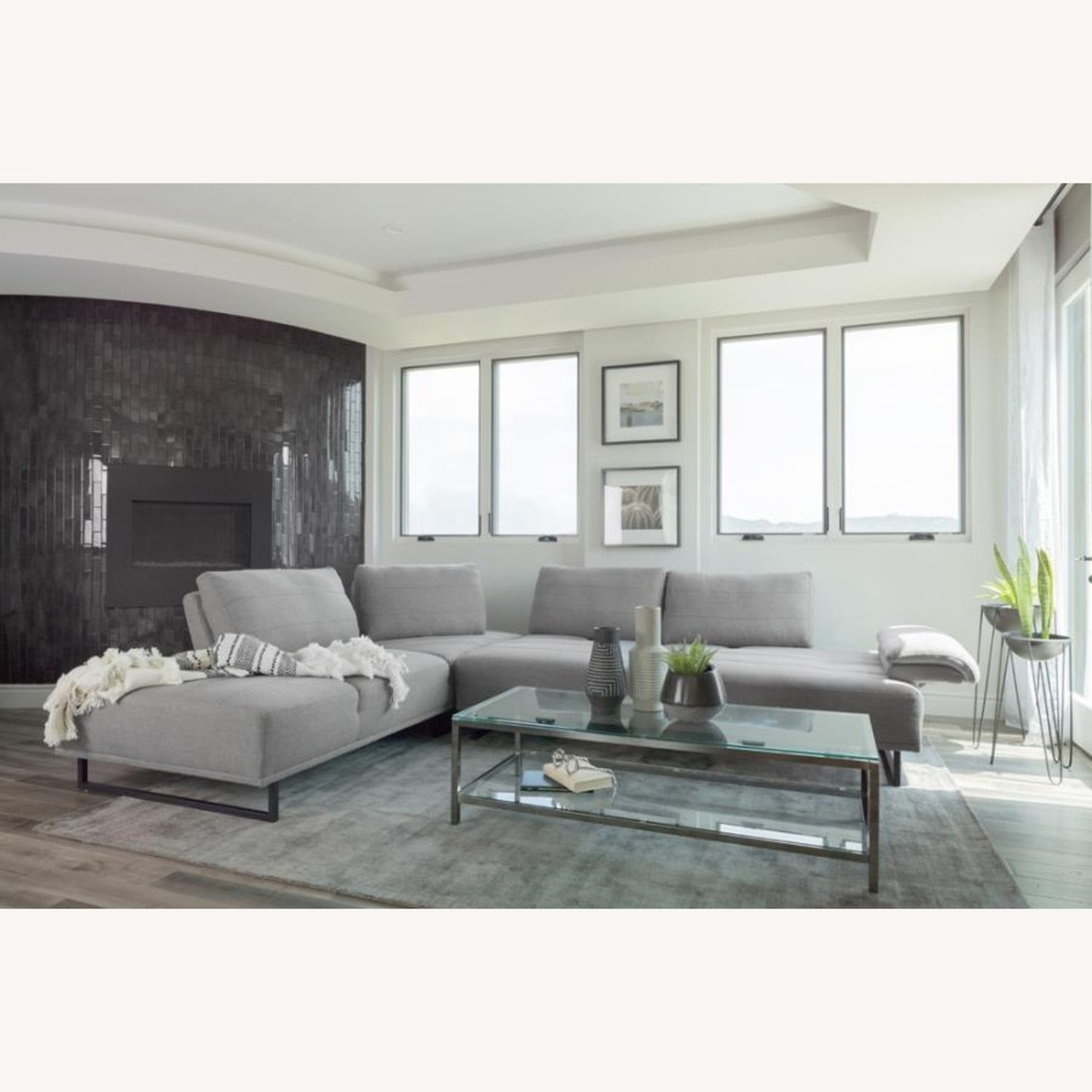 Sectional In Taupe Woven Fabric Upholstery - image-2
