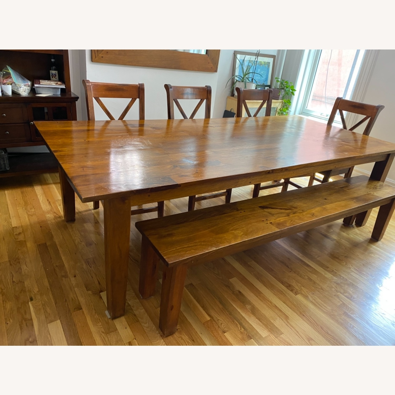 Crate & Barrel Basque Honey Brown Dining Table - image-1