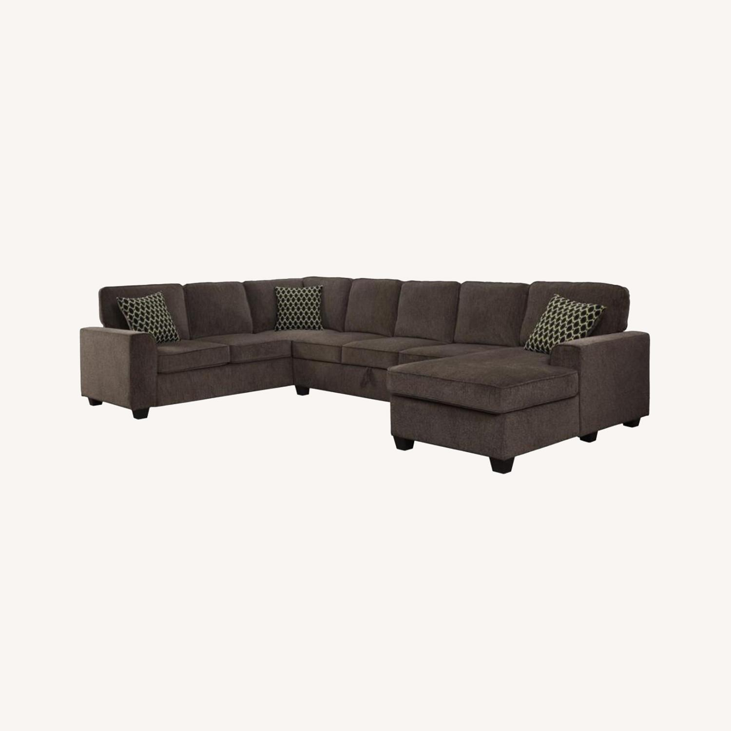 Sectional In Multi-Tonal Brown Chenille Upholstery - image-11