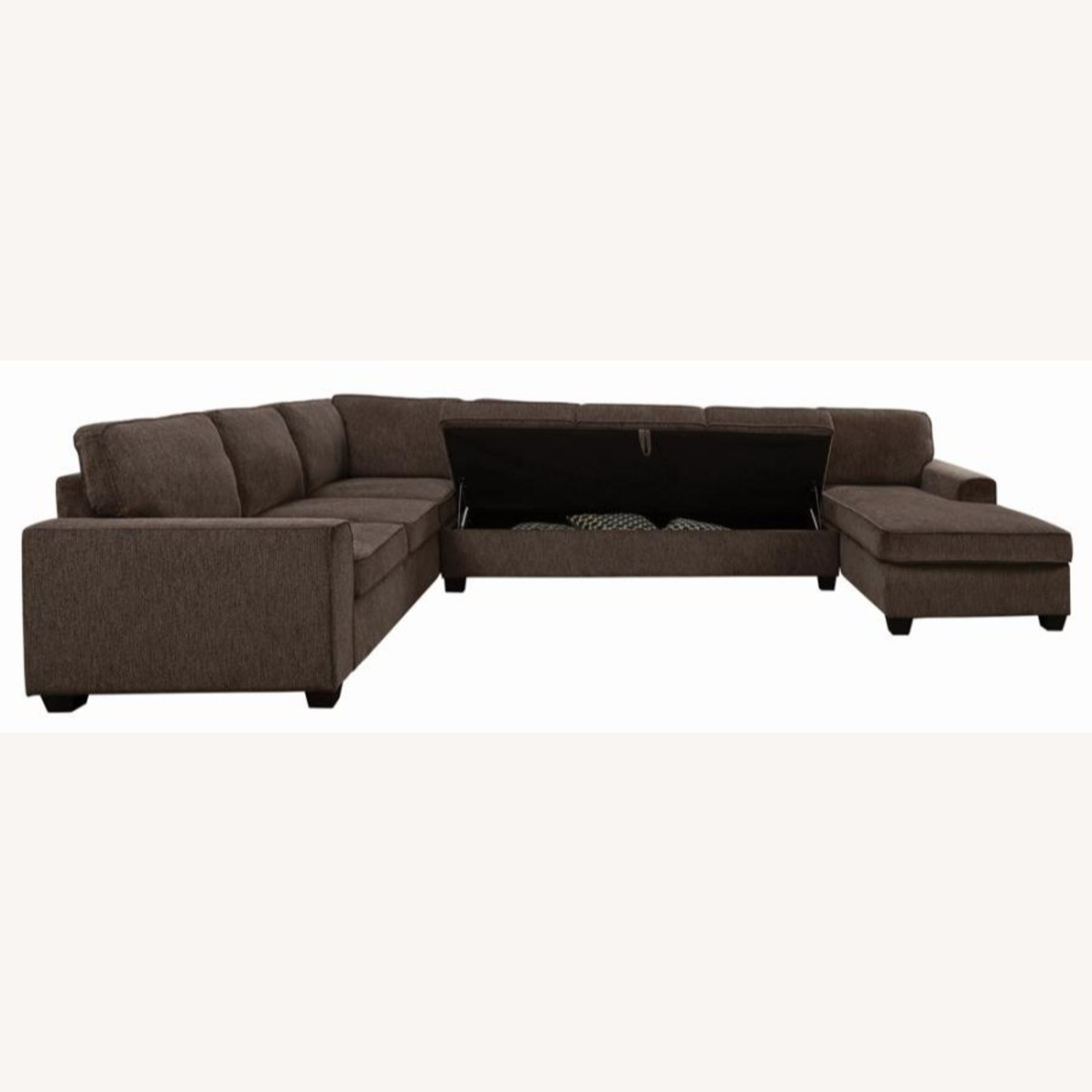 Sectional In Multi-Tonal Brown Chenille Upholstery - image-4