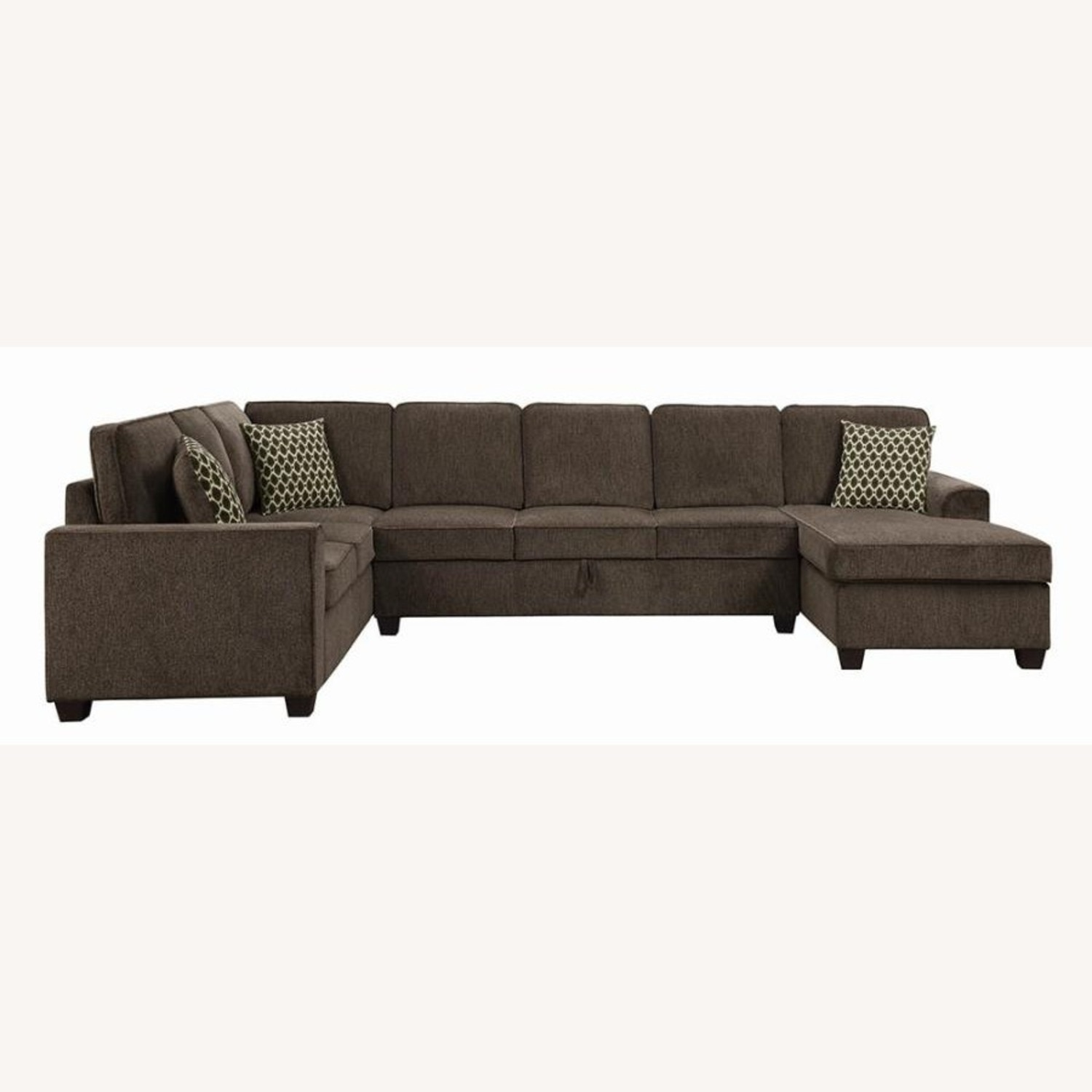 Sectional In Multi-Tonal Brown Chenille Upholstery - image-2