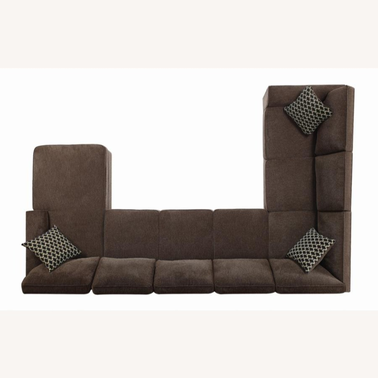 Sectional In Multi-Tonal Brown Chenille Upholstery - image-7