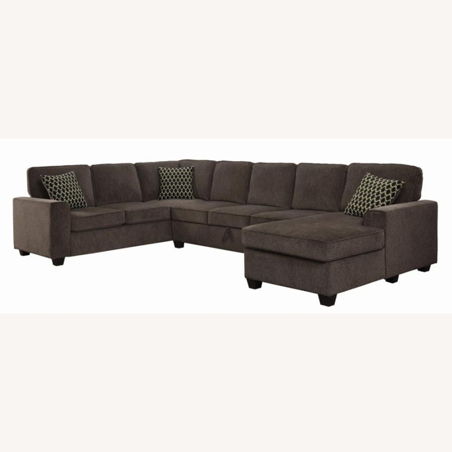 Sectional In Multi-Tonal Brown Chenille Upholstery - image-0