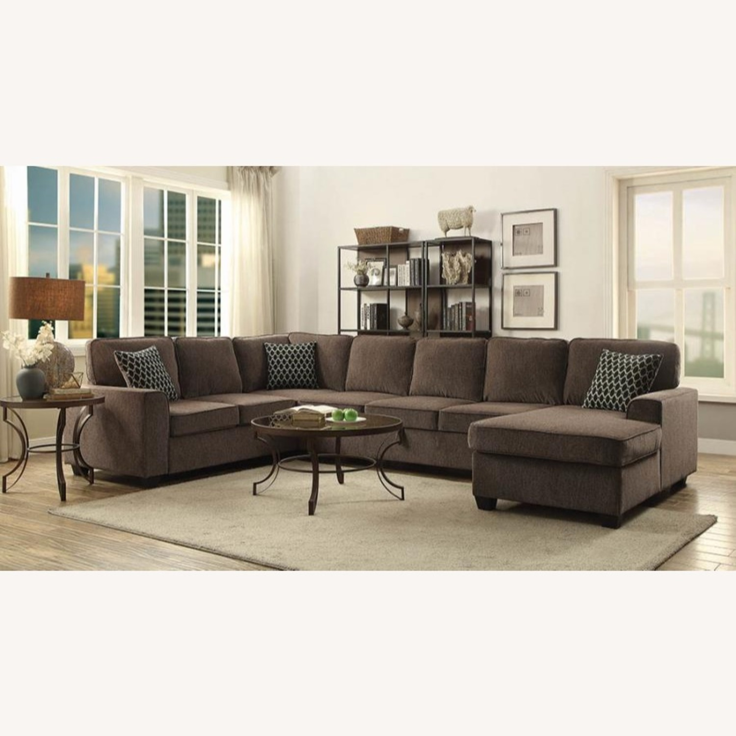Sectional In Multi-Tonal Brown Chenille Upholstery - image-9