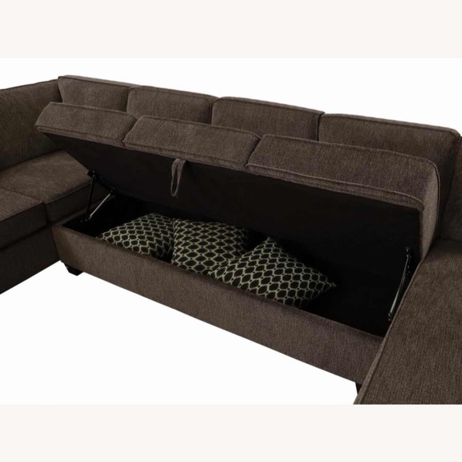 Sectional In Multi-Tonal Brown Chenille Upholstery - image-5