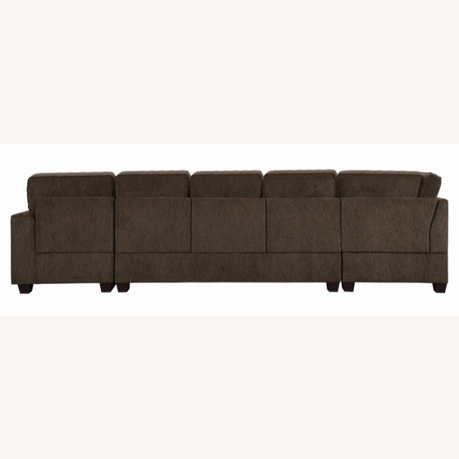 Sectional In Multi-Tonal Brown Chenille Upholstery - image-3