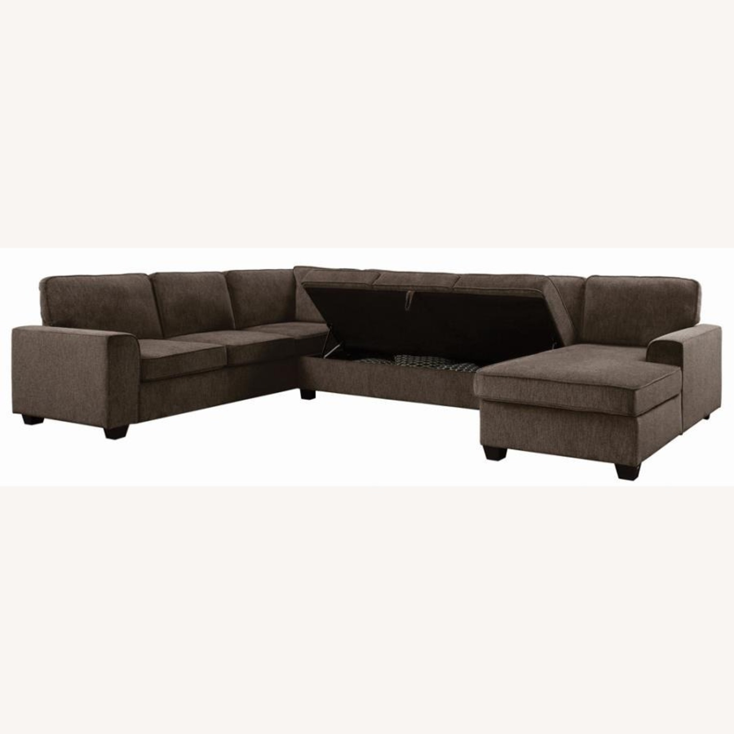 Sectional In Multi-Tonal Brown Chenille Upholstery - image-6