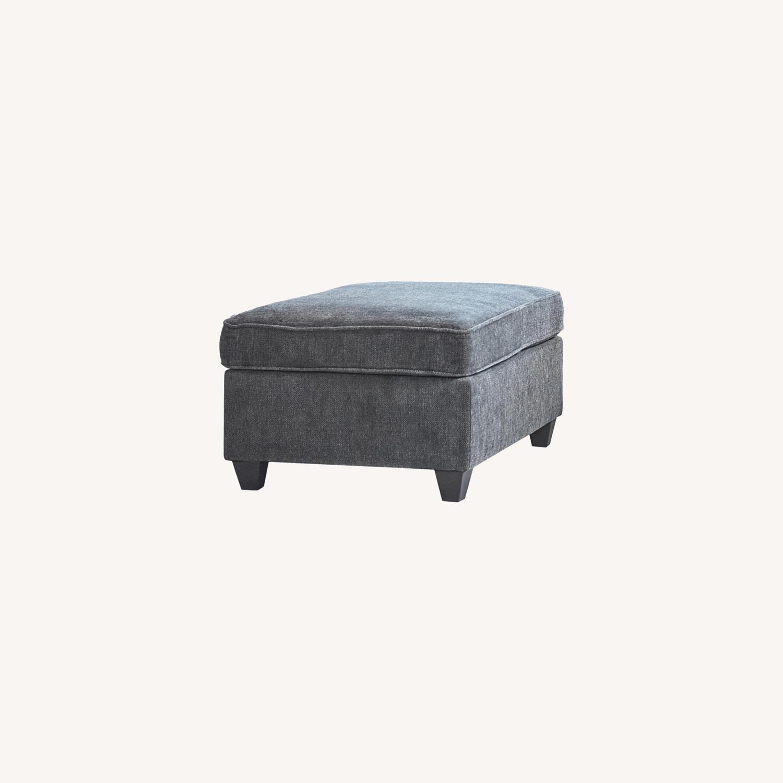 Ottoman In Dark Grey Chenille Upholstery - image-5