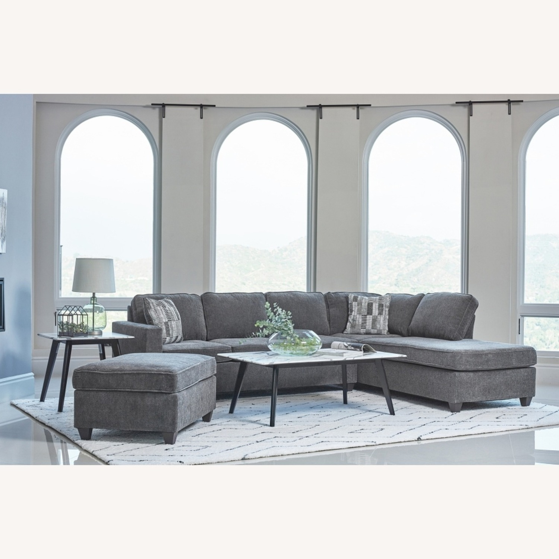 Ottoman In Dark Grey Chenille Upholstery - image-3