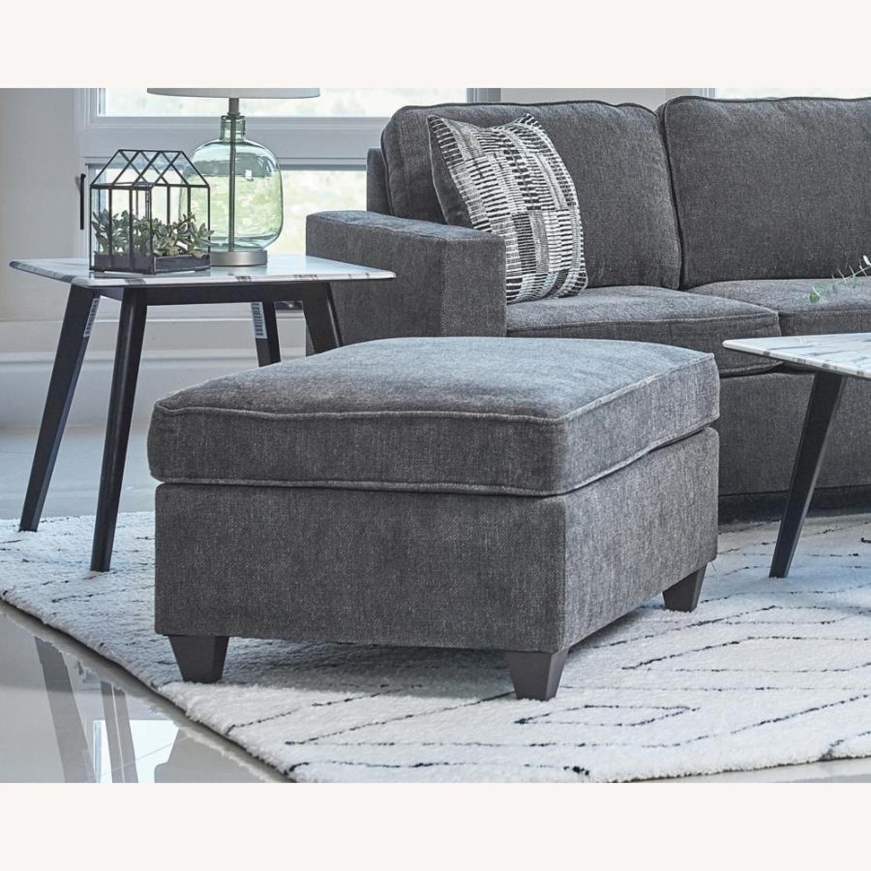 Ottoman In Dark Grey Chenille Upholstery - image-2