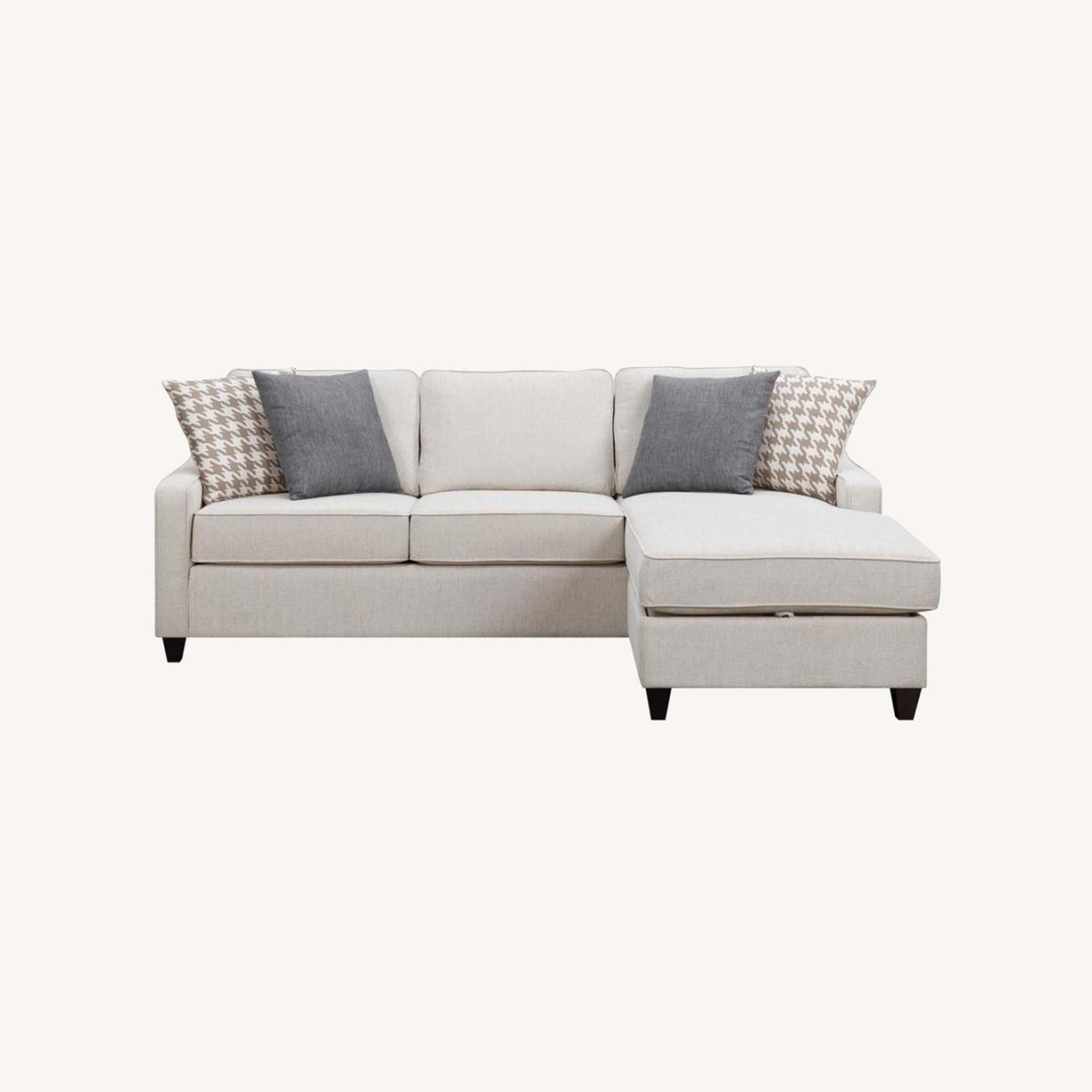 Sectional In Cream Chevron Dobby Upholstery - image-13