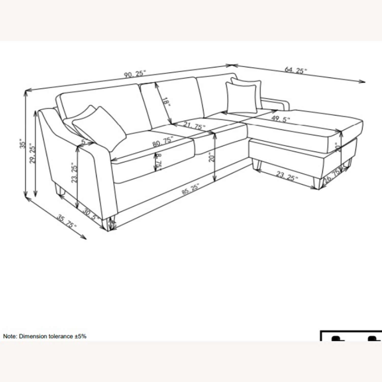 Sectional In Cream Chevron Dobby Upholstery - image-12