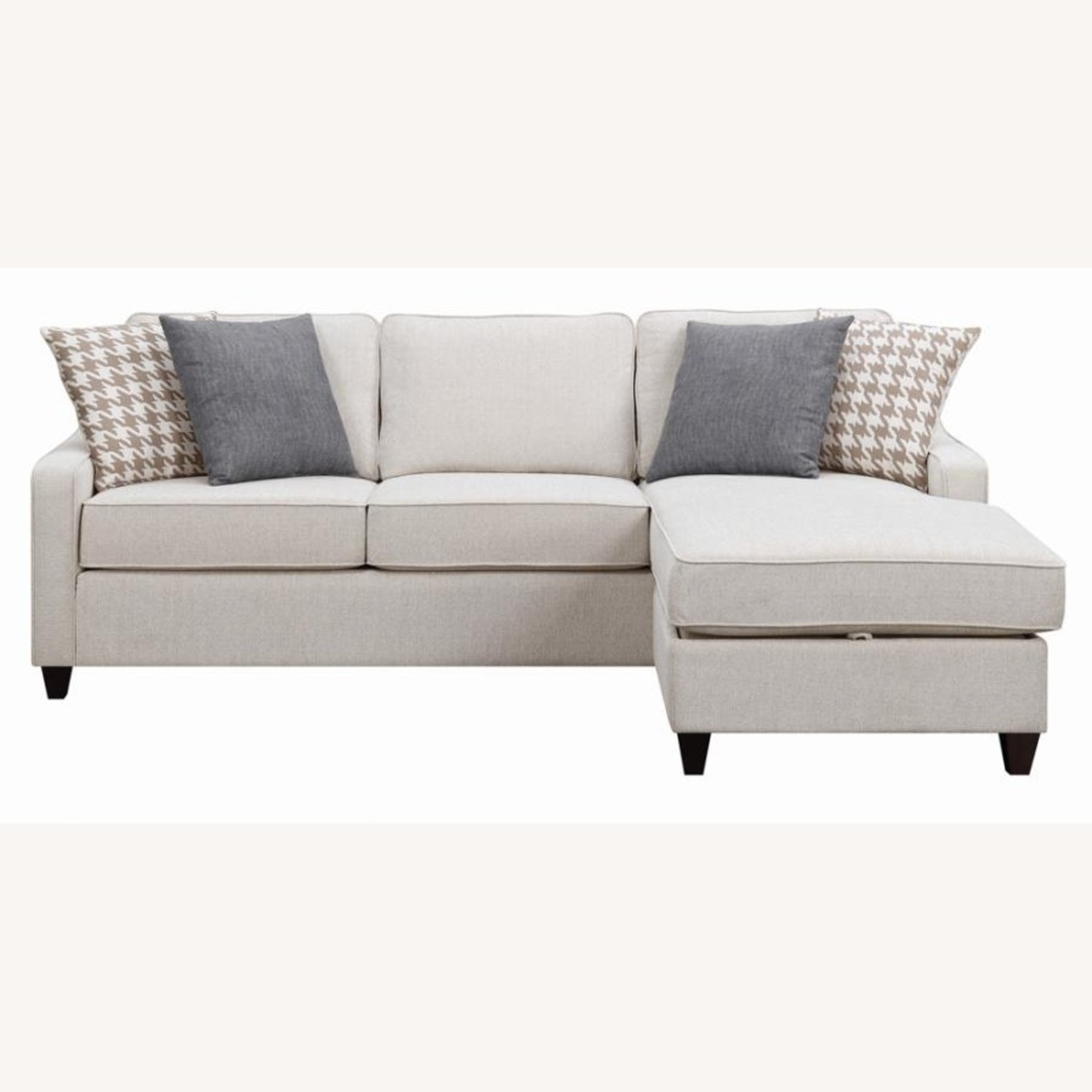 Sectional In Cream Chevron Dobby Upholstery - image-1