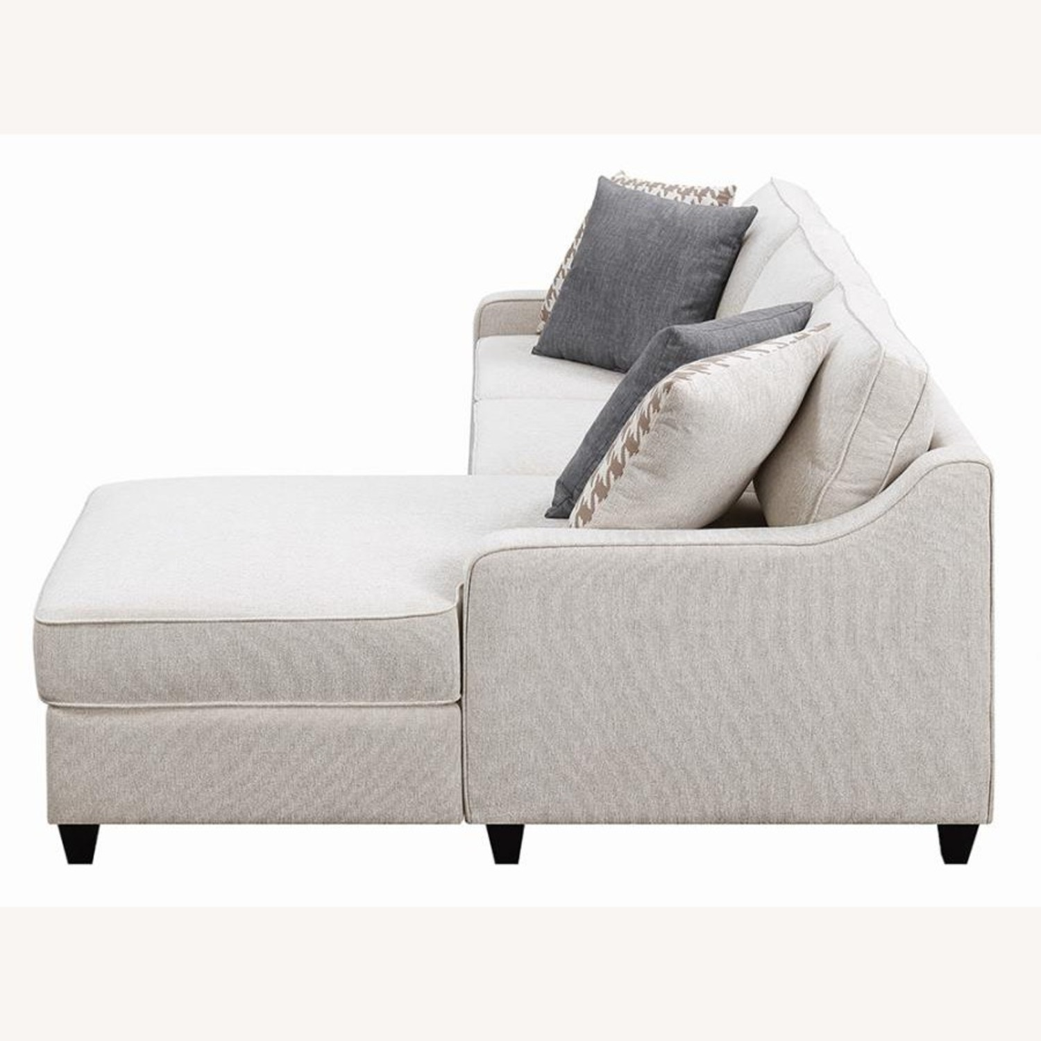 Sectional In Cream Chevron Dobby Upholstery - image-2