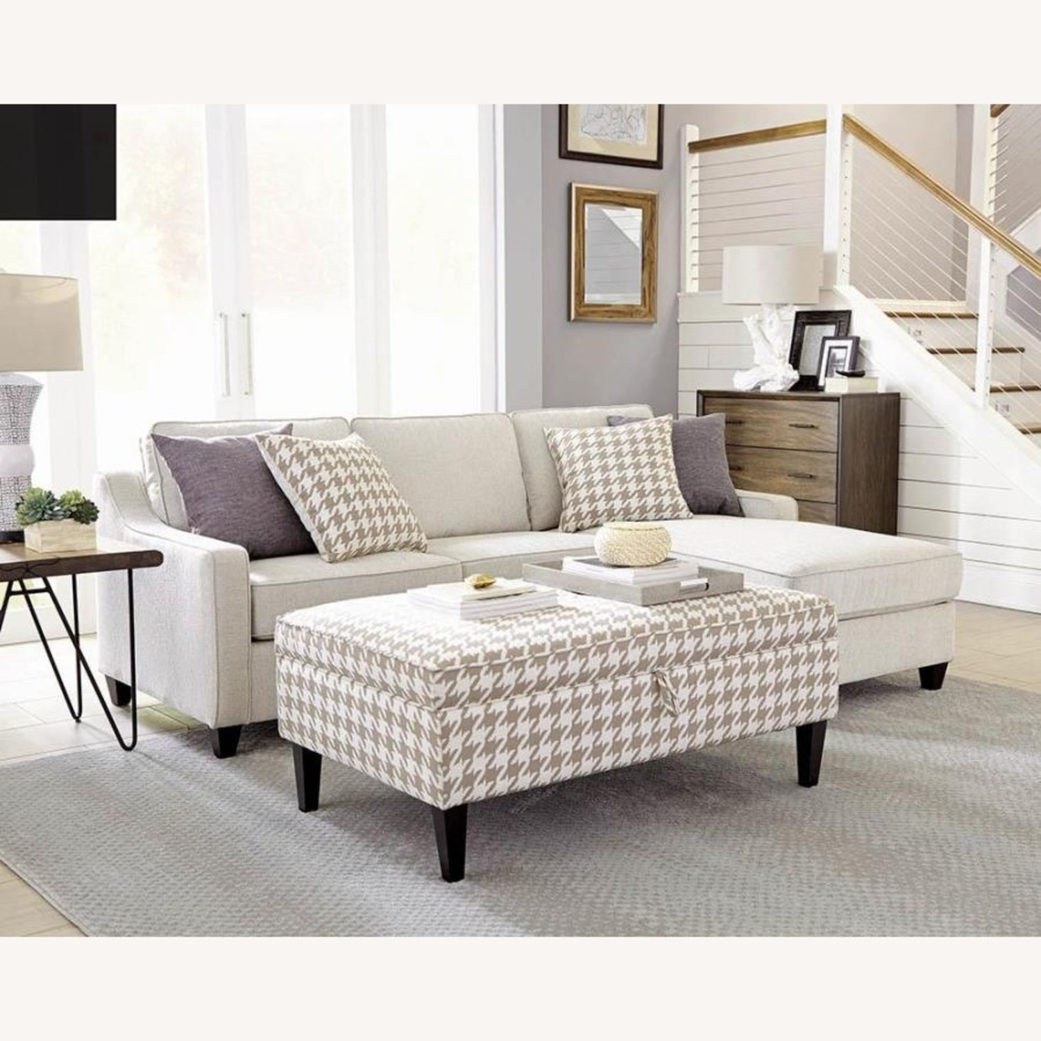 Sectional In Cream Chevron Dobby Upholstery - image-11