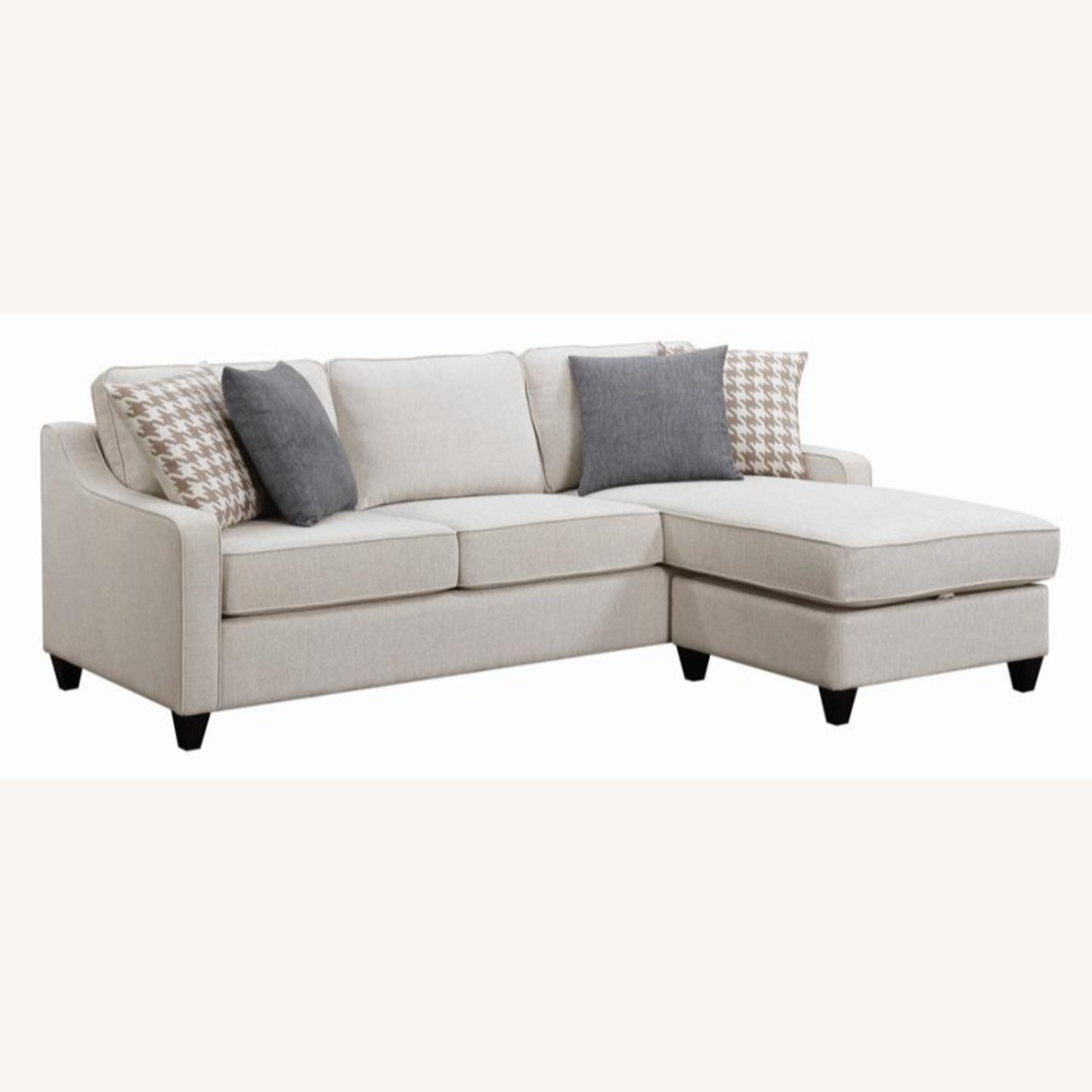 Sectional In Cream Chevron Dobby Upholstery - image-0