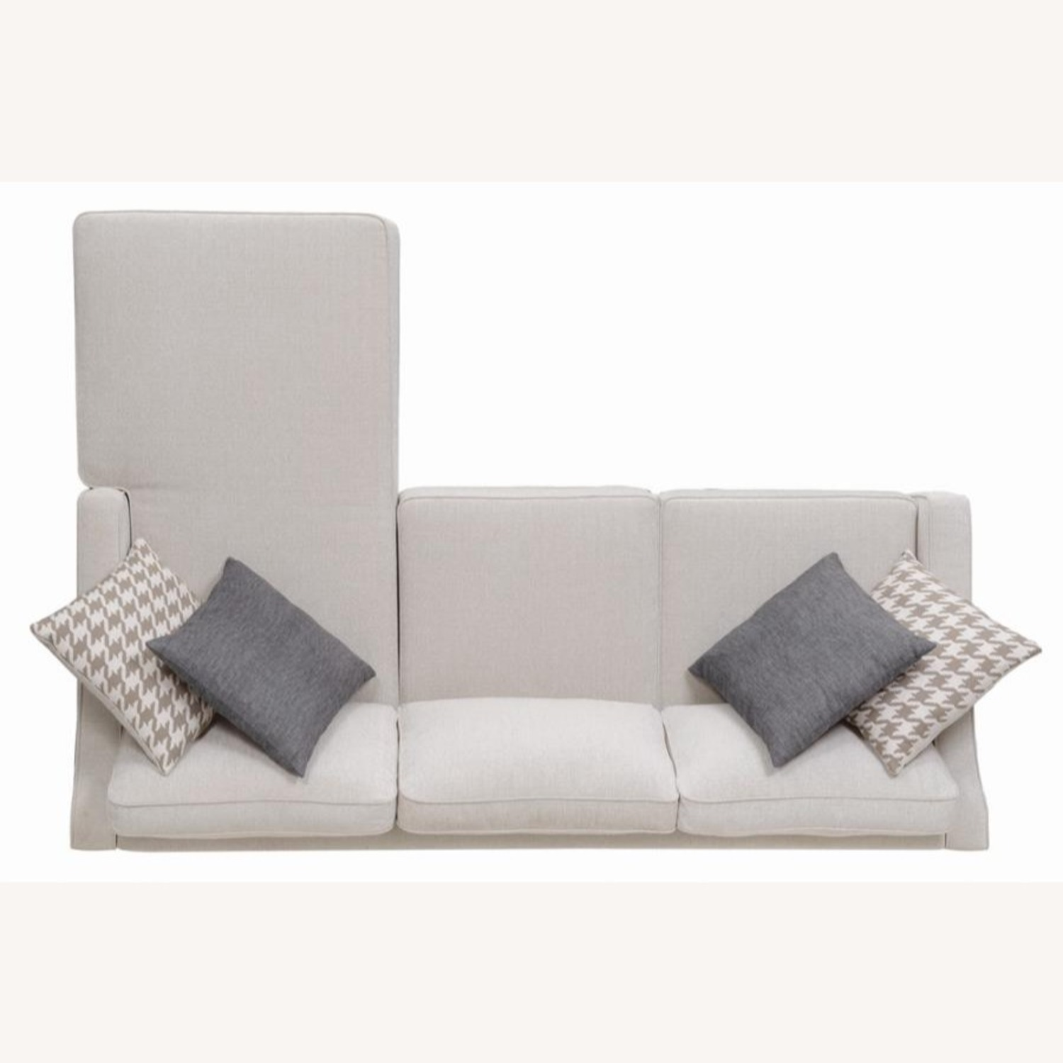 Sectional In Cream Chevron Dobby Upholstery - image-5