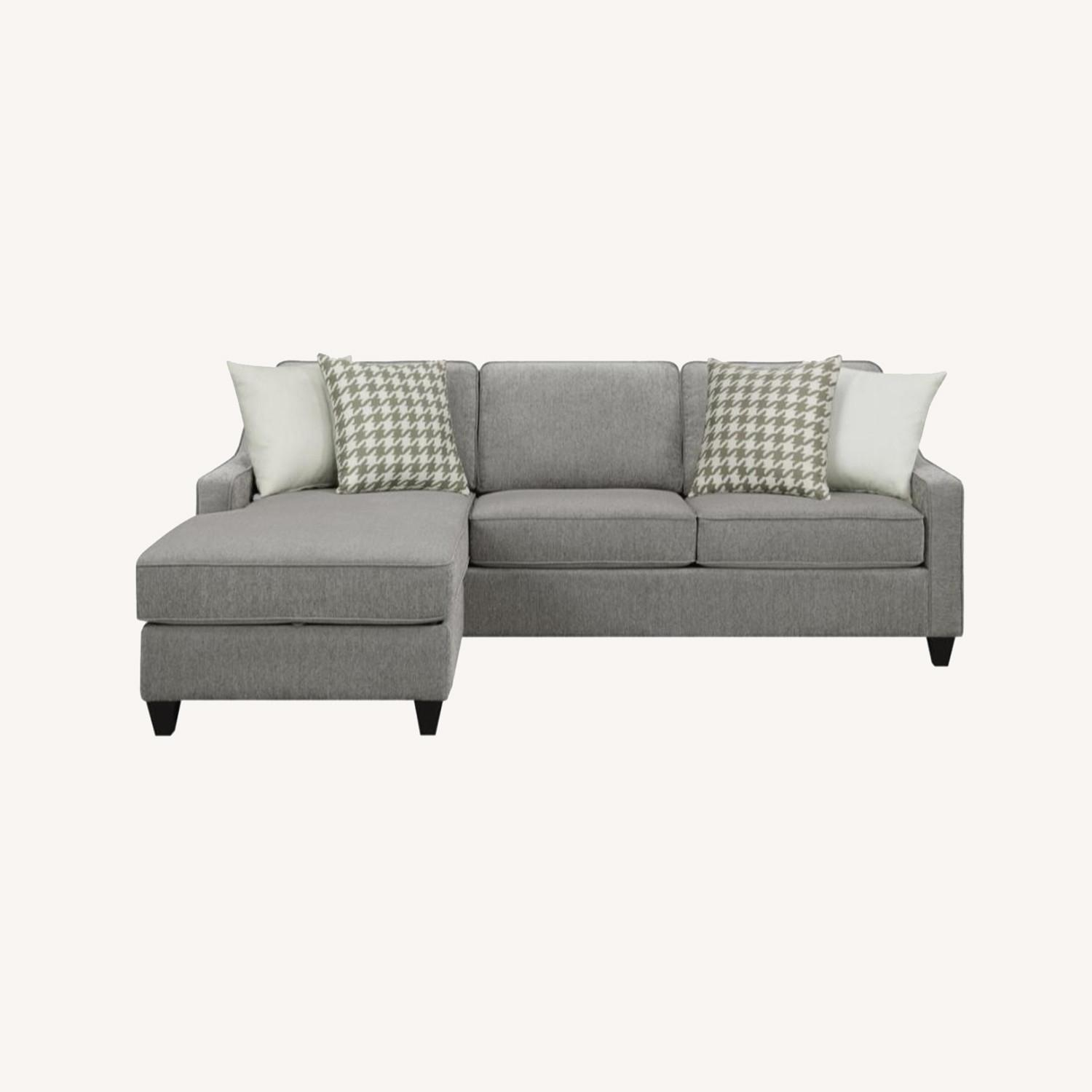 Sectional In Charcoal Chevron Dobby Upholstery - image-14
