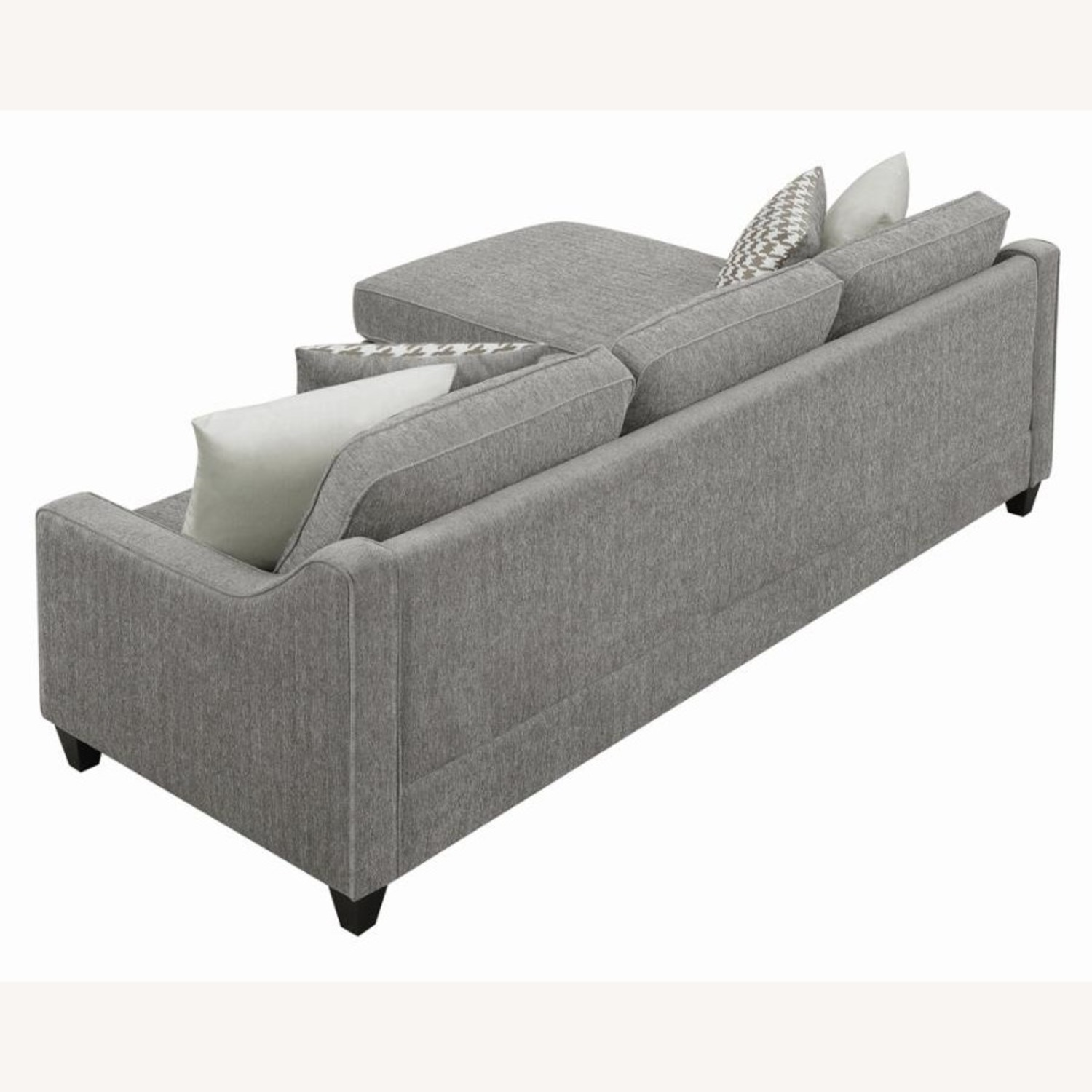 Sectional In Charcoal Chevron Dobby Upholstery - image-6