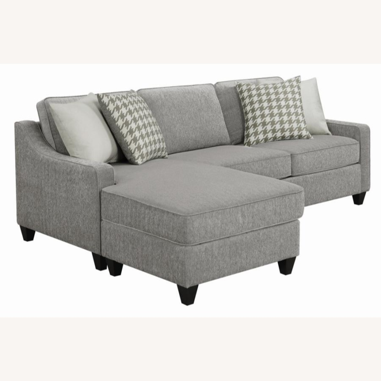 Sectional In Charcoal Chevron Dobby Upholstery - image-2