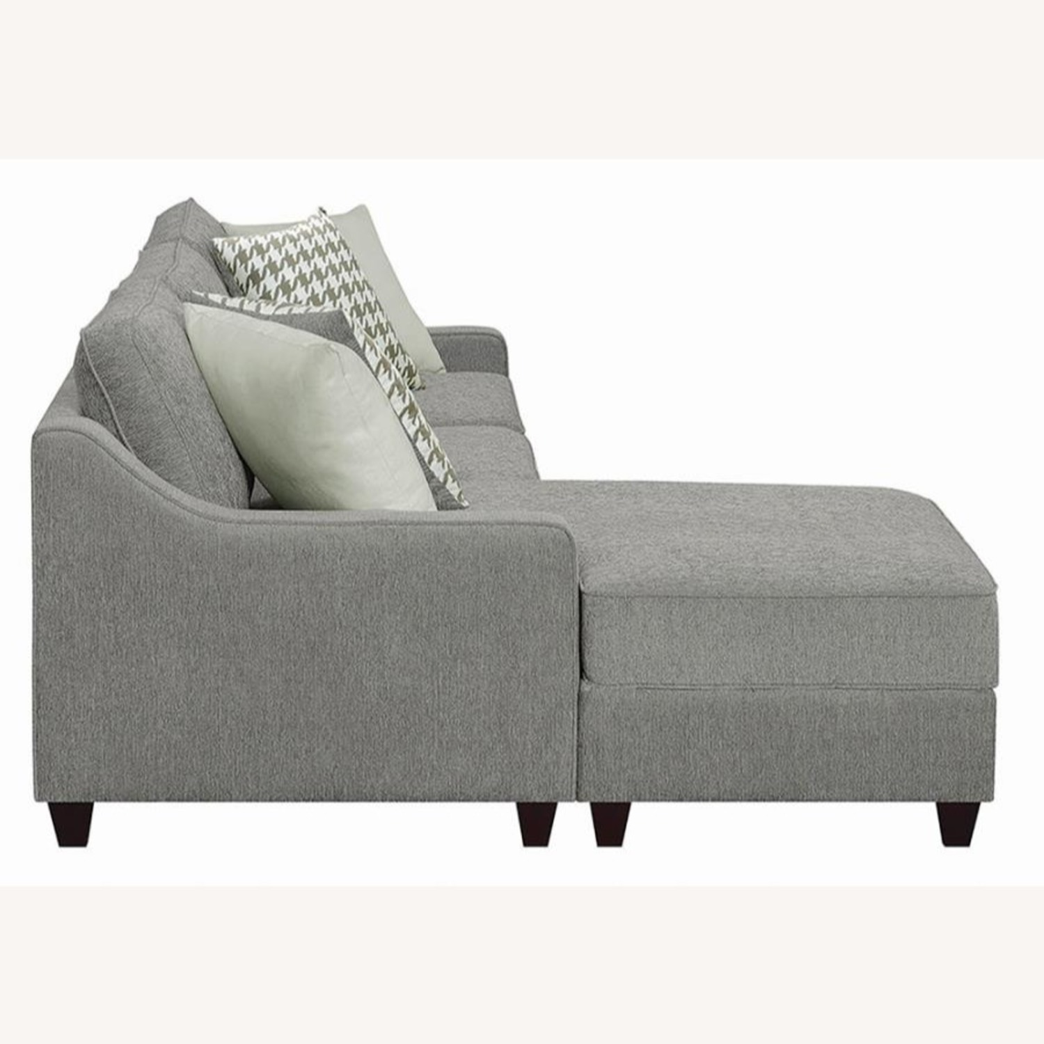 Sectional In Charcoal Chevron Dobby Upholstery - image-5