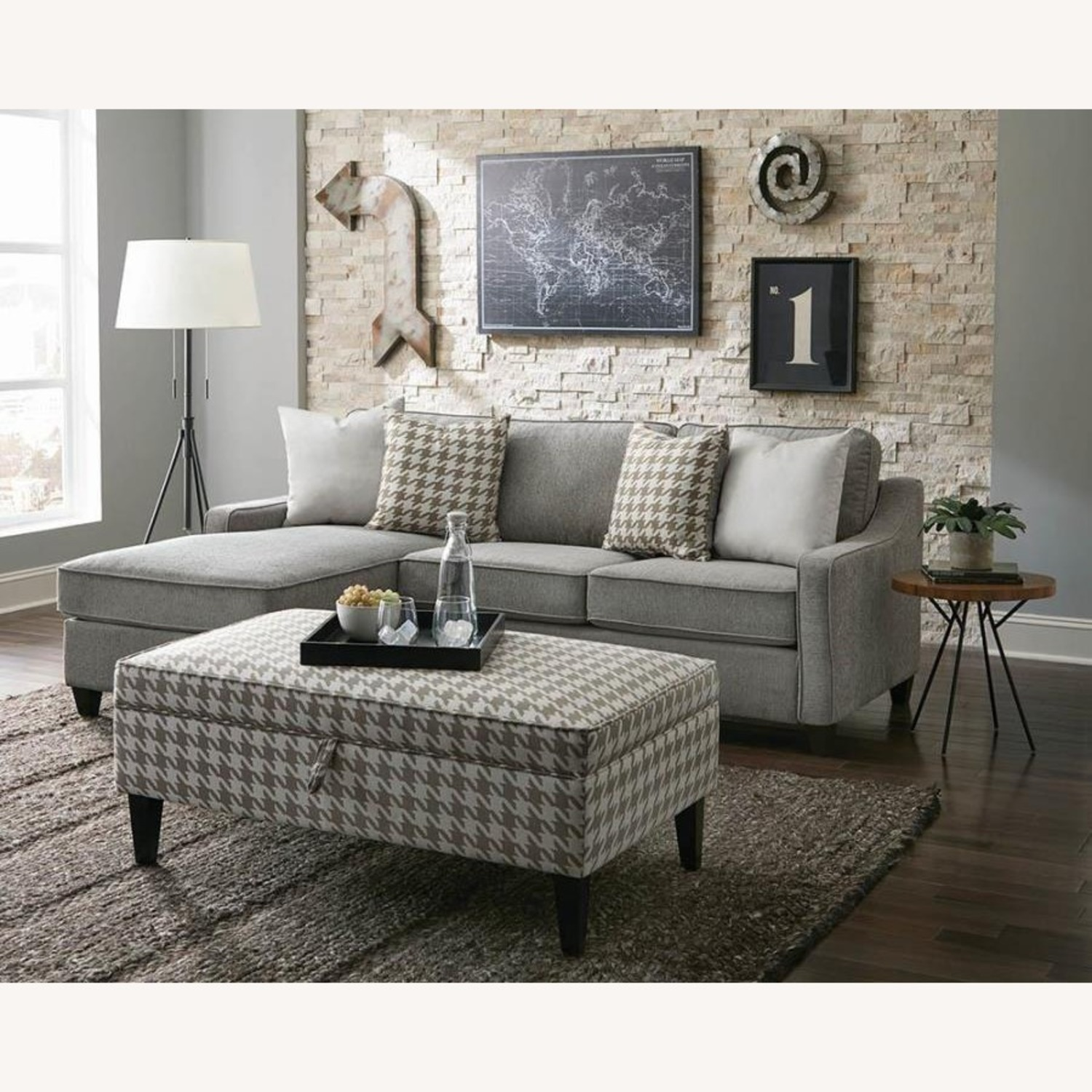 Sectional In Charcoal Chevron Dobby Upholstery - image-12