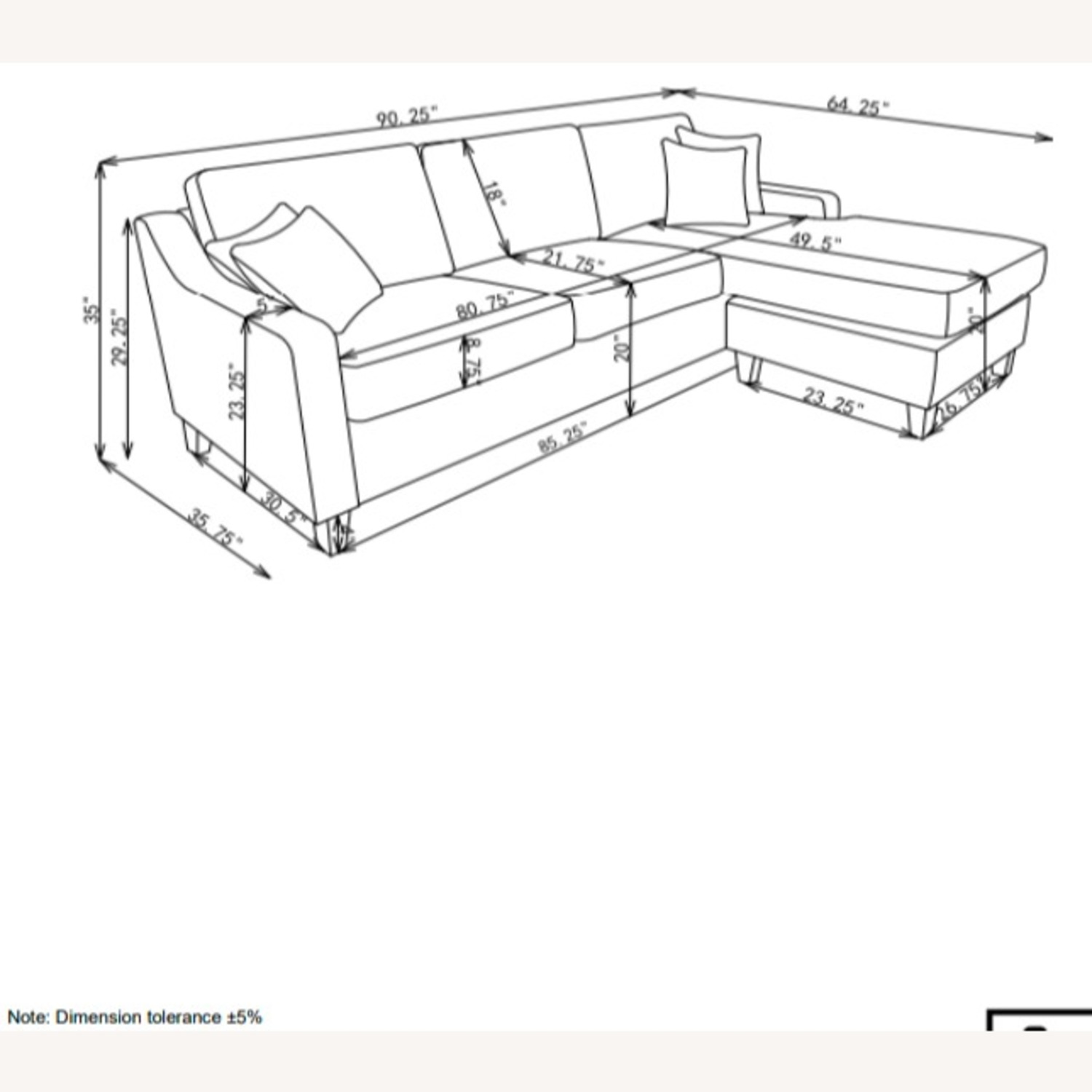 Sectional In Charcoal Chevron Dobby Upholstery - image-13