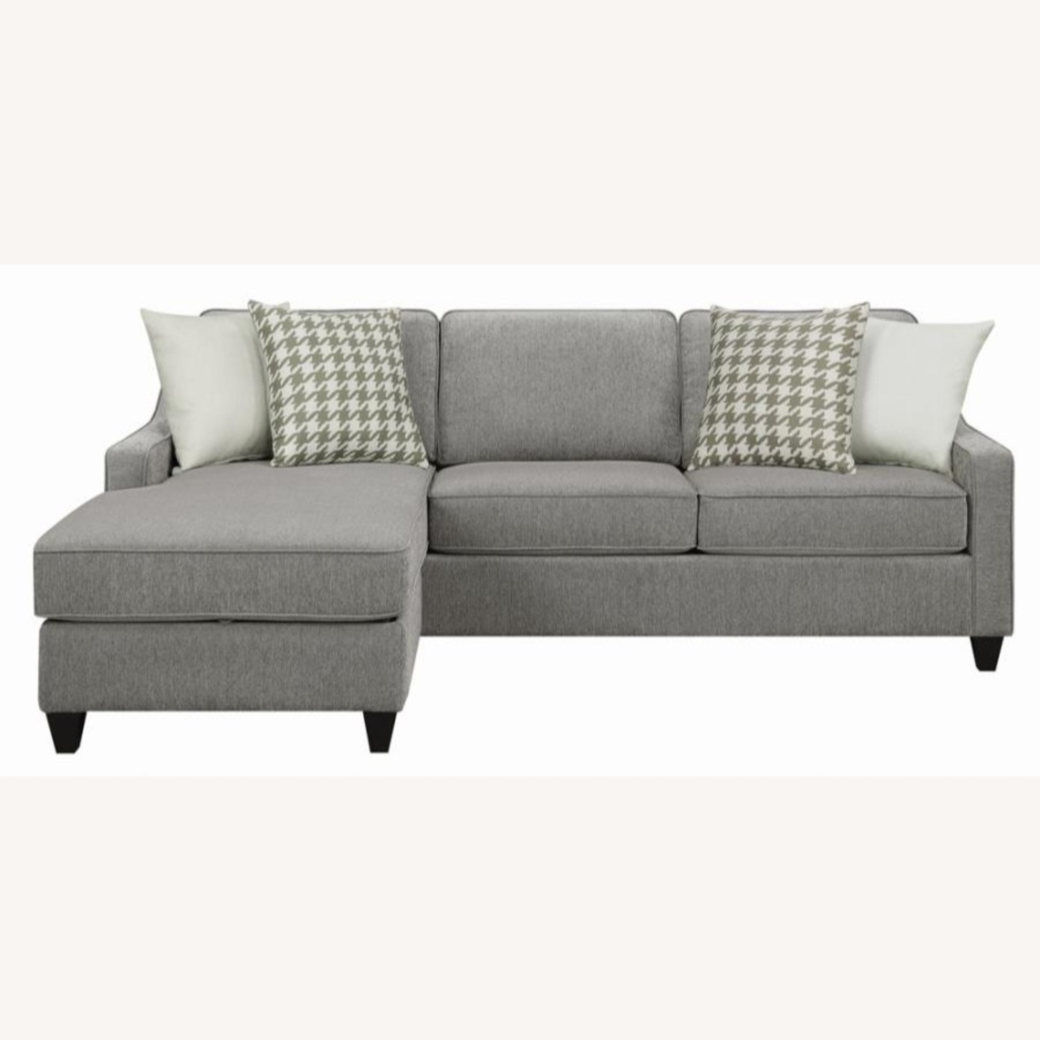 Sectional In Charcoal Chevron Dobby Upholstery - image-3