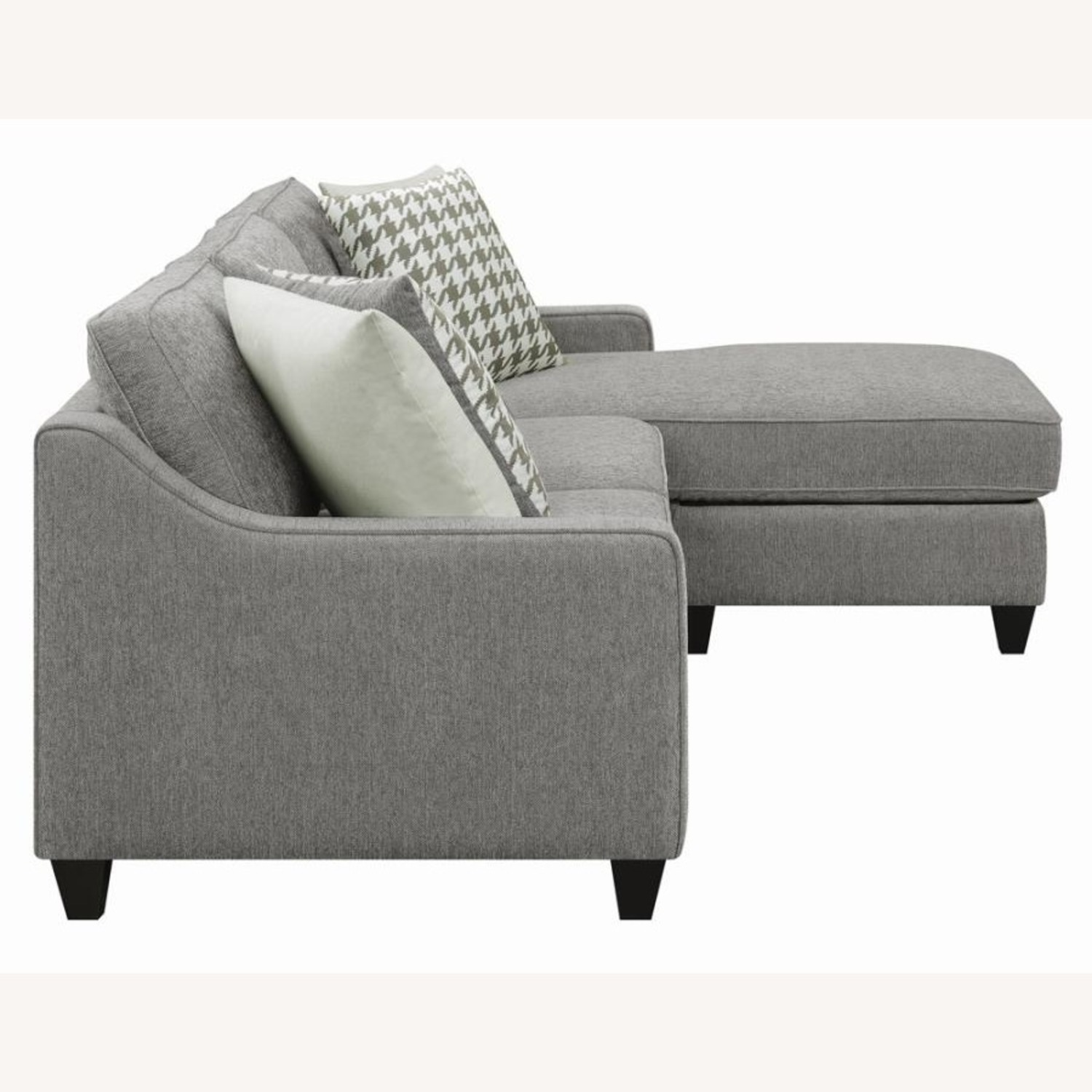 Sectional In Charcoal Chevron Dobby Upholstery - image-4