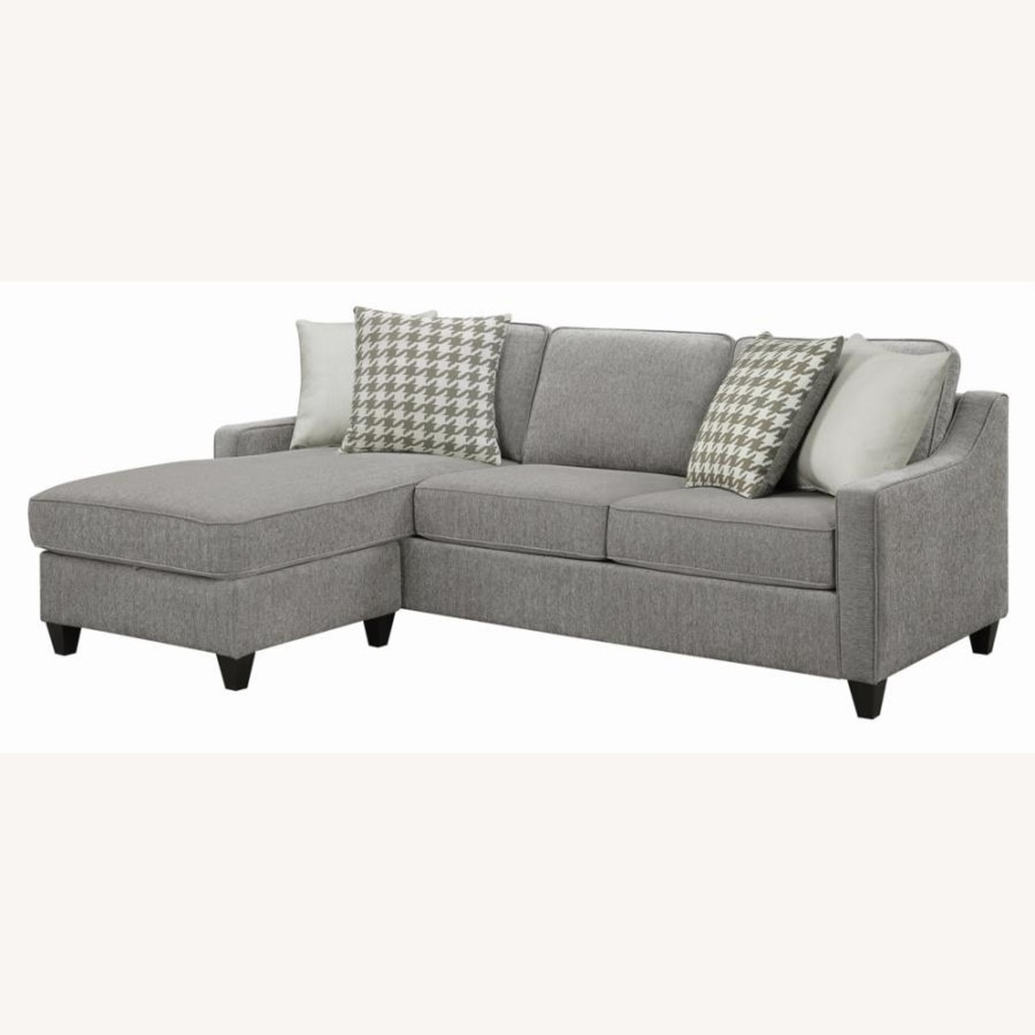 Sectional In Charcoal Chevron Dobby Upholstery - image-1