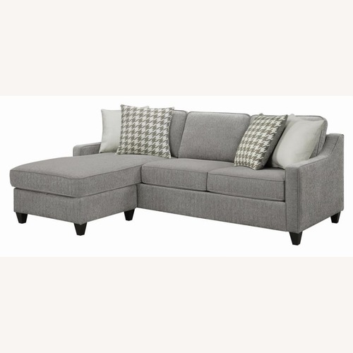 Used Sectional In Charcoal Chevron Dobby Upholstery for sale on AptDeco