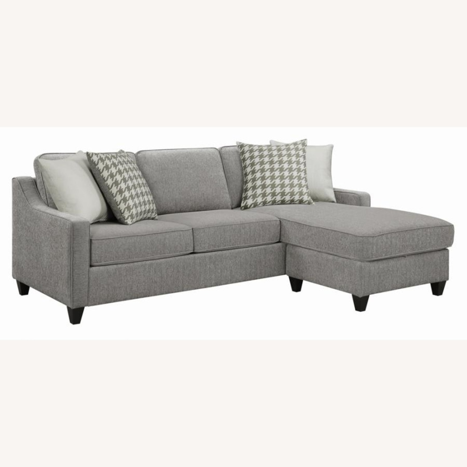 Sectional In Charcoal Chevron Dobby Upholstery - image-0
