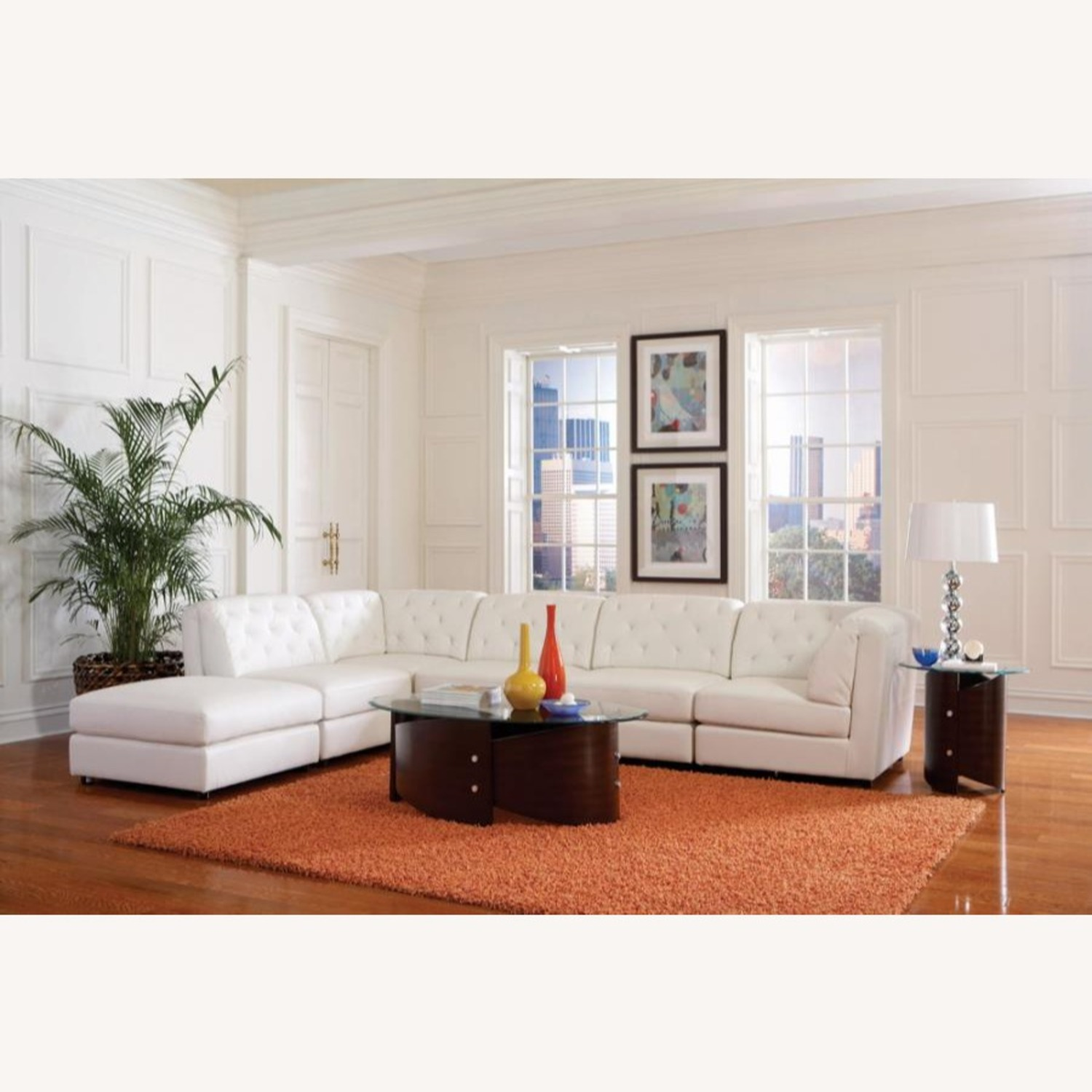 Ottoman In White Breathable Leatherette - image-2