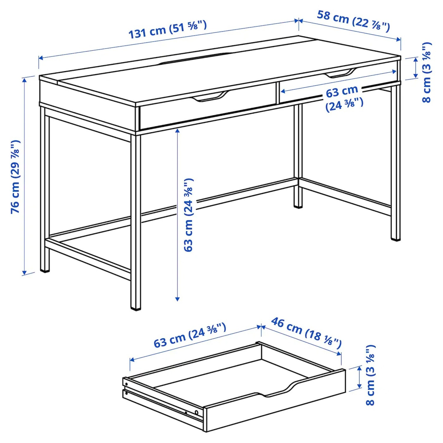 IKEA Alex Desk with Drawers - image-6
