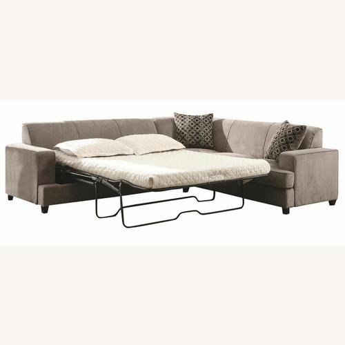 Used 3-Piece Sleeper Sectional In Grey Microvelvet for sale on AptDeco