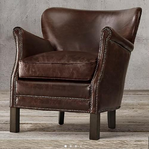 Used Restoration Hardware Brown Leather Chair for sale on AptDeco