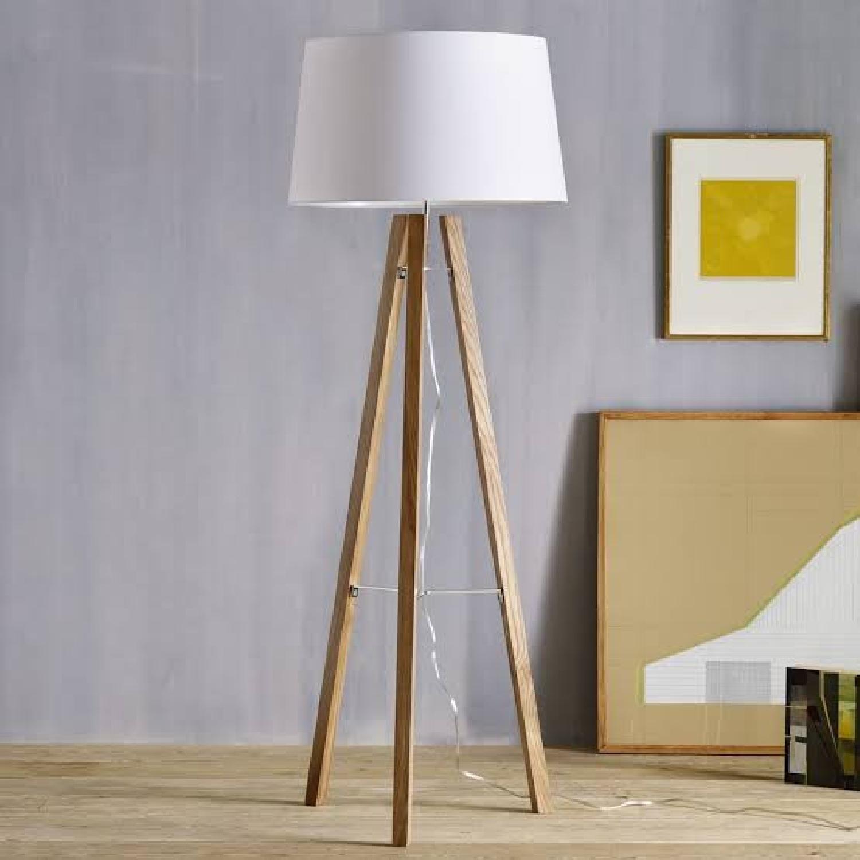 West Elm Neutral Wooden Floor Lamps - image-5
