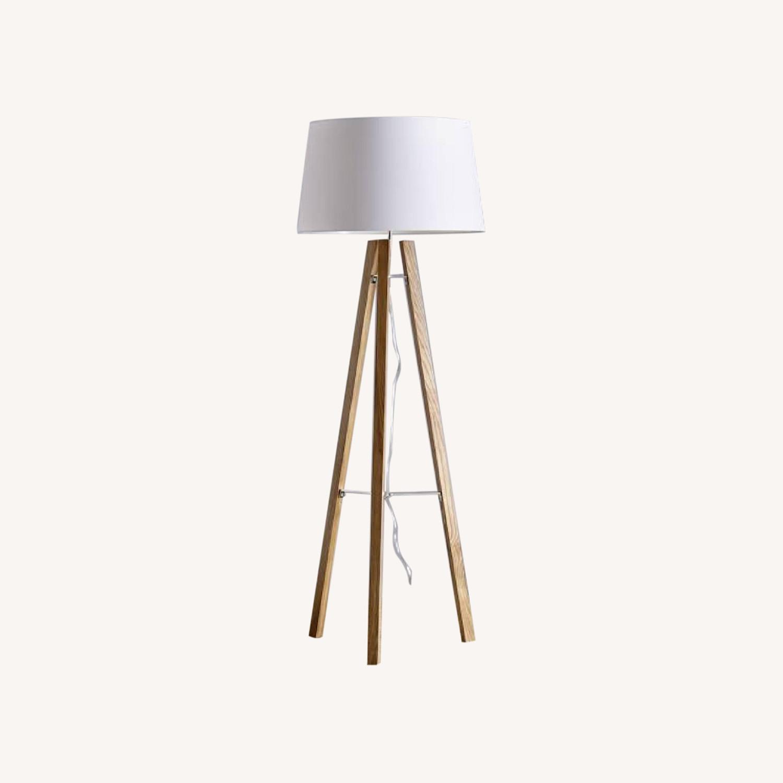 West Elm Neutral Wooden Floor Lamps - image-0