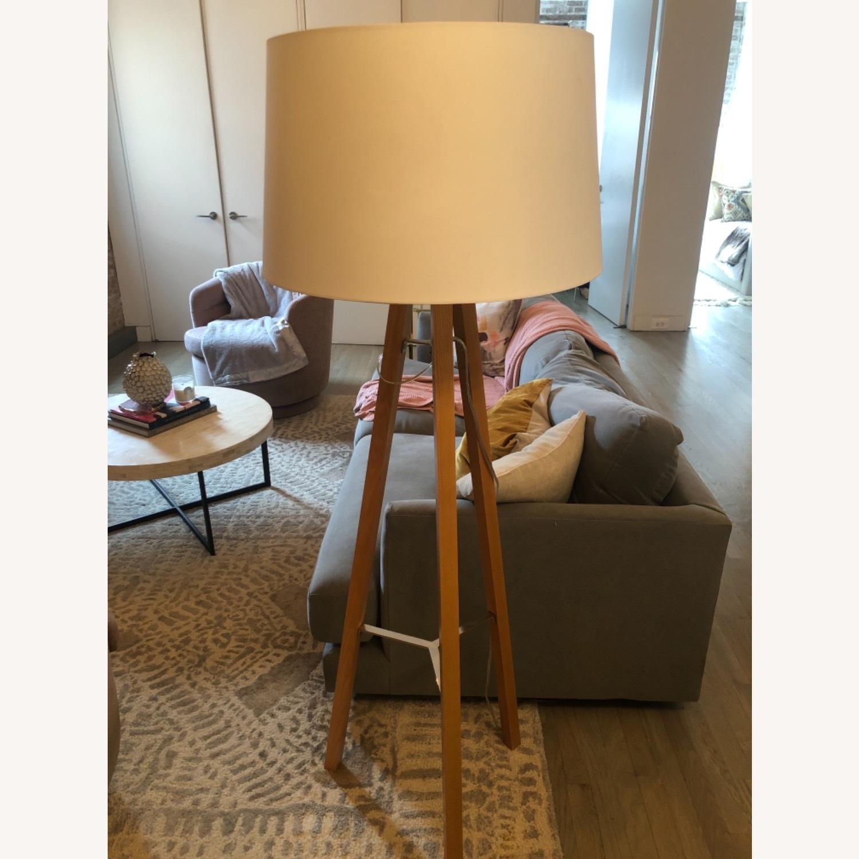 West Elm Neutral Wooden Floor Lamps - image-1