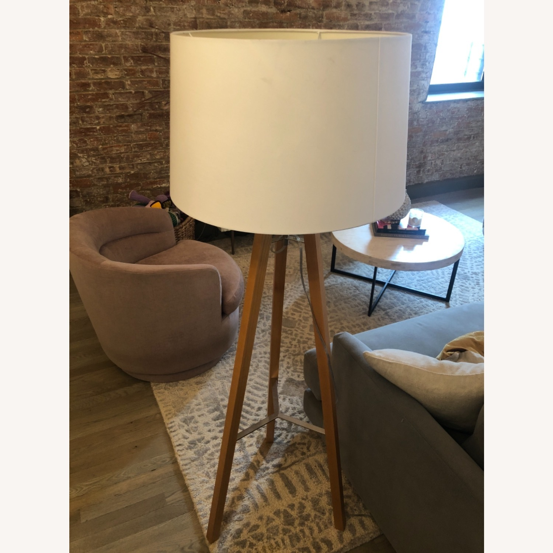 West Elm Neutral Wooden Floor Lamps - image-3