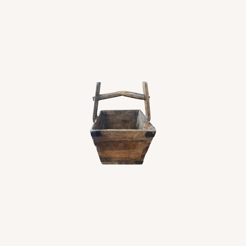 Vintage Solid Wood Storage Basket - image-0