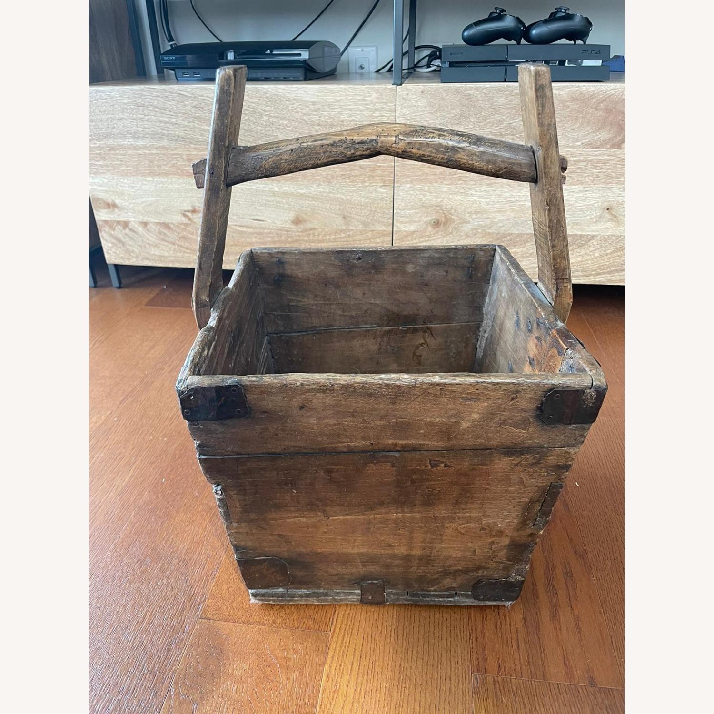 Vintage Solid Wood Storage Basket - image-1