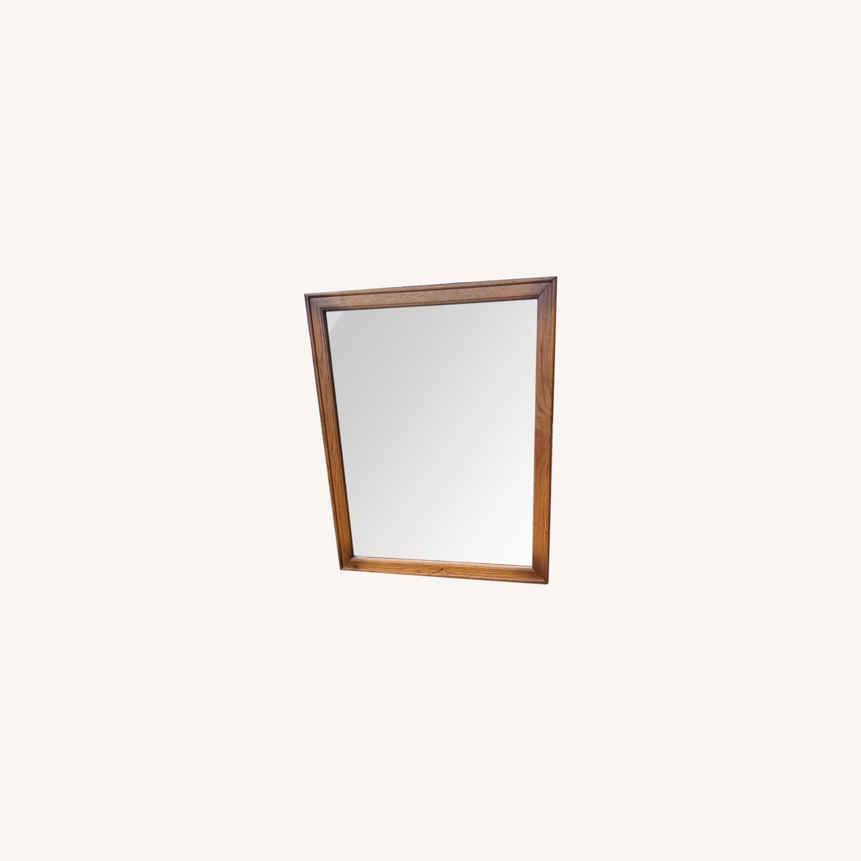 David M. Lea Mid Century Oak Framed Wall Mirror - image-0
