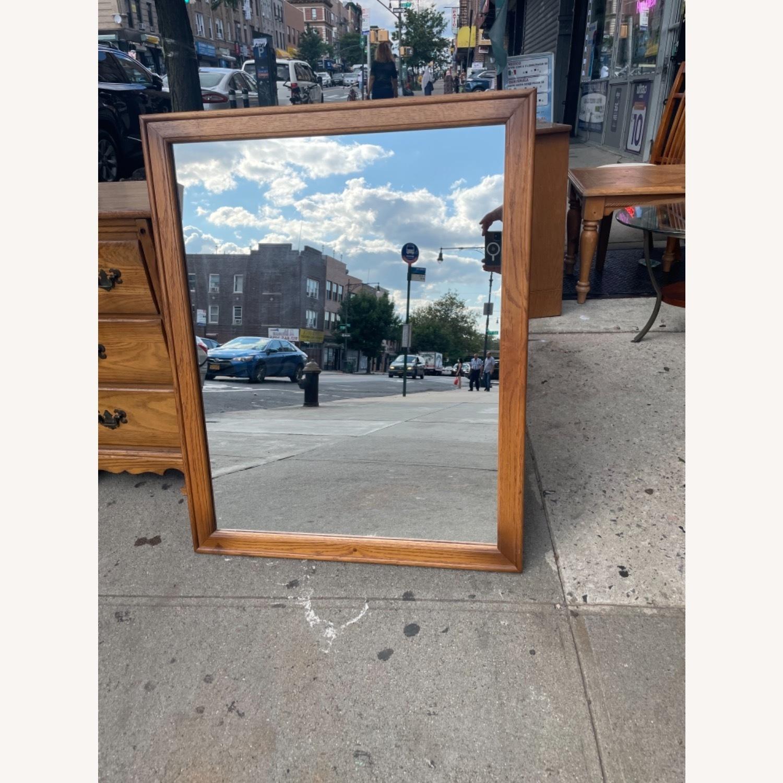 David M. Lea Mid Century Oak Framed Wall Mirror - image-10