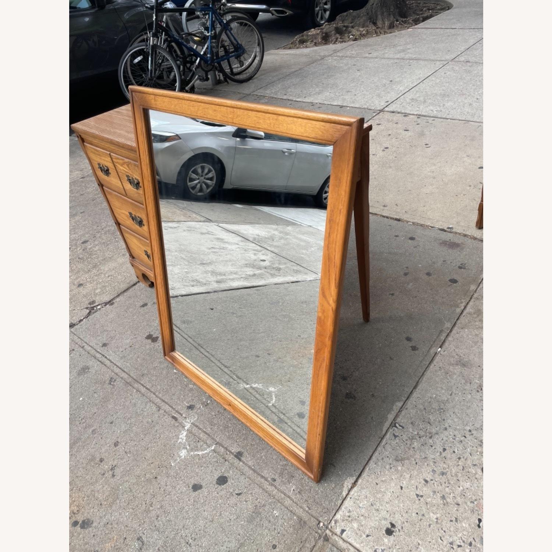 David M. Lea Mid Century Oak Framed Wall Mirror - image-12